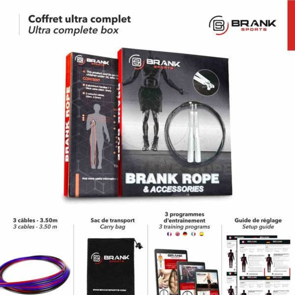 BRANK Rope, la meilleure corde à sauter crossfit et le coffret le plus complet du marché avec câbles en acier de rechange