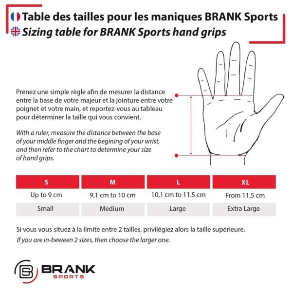Guide taille pour maniques BRANK Sports