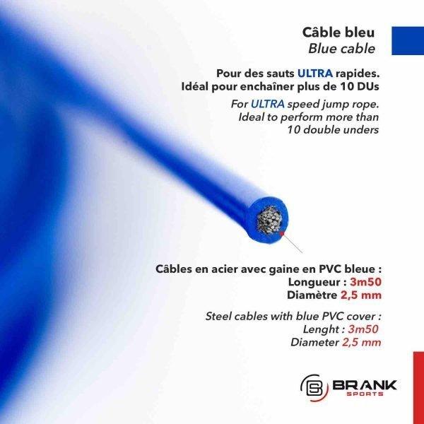 cable en acier bleu pour corde à sauter de vitesse léger et très rapide