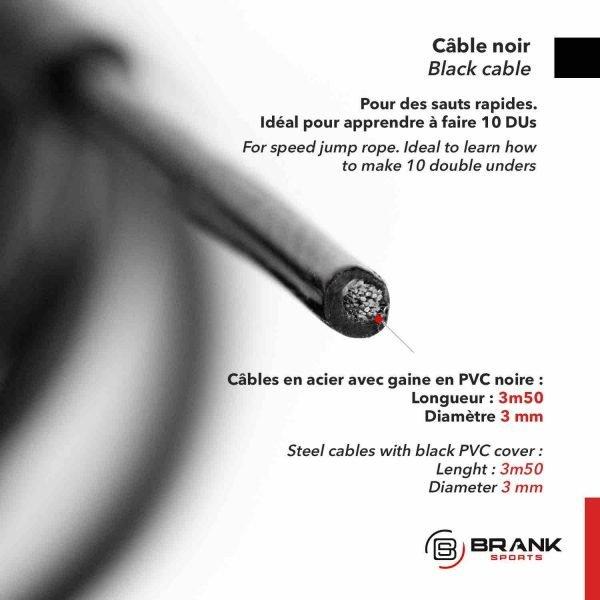 cable en acier noir pour corde à sauter de vitesse idéal pour débutants