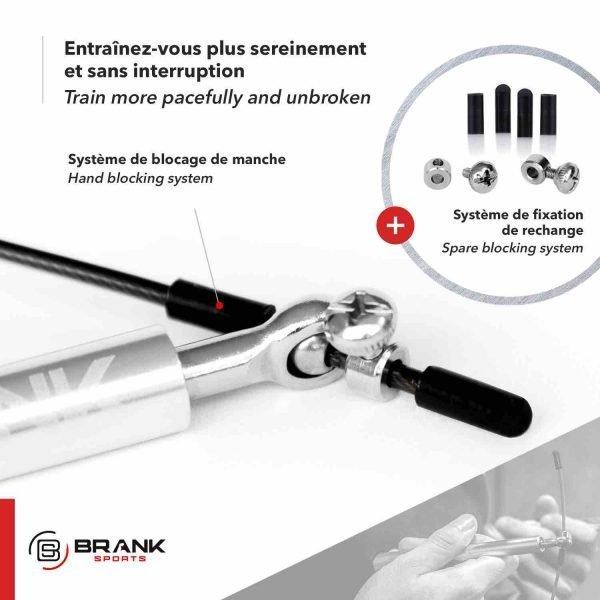 BRANK Rope, la meilleure corde à sauter fitness sytème de blocage des poignées pour un confort maximum et éviter que le câble ne se déplace pendant les sauts
