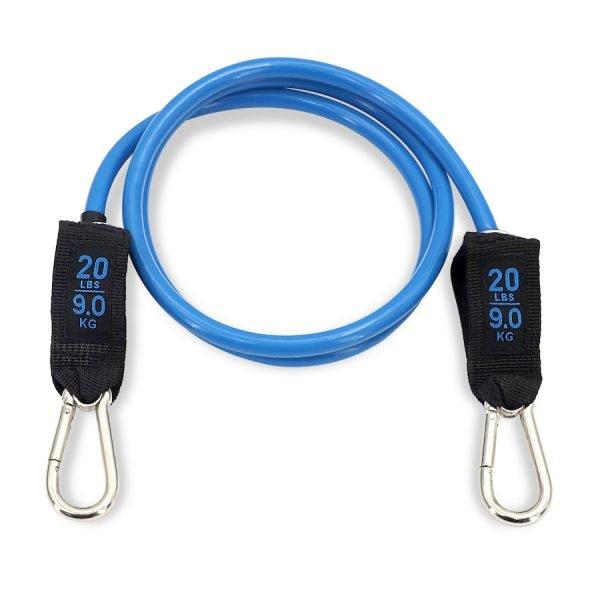 élastique de résistance avec mousqueton bleu de 20lbs