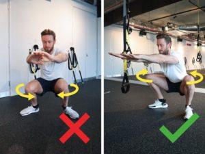 squat avec les genoux vers l'intérieur ou l'extérieur