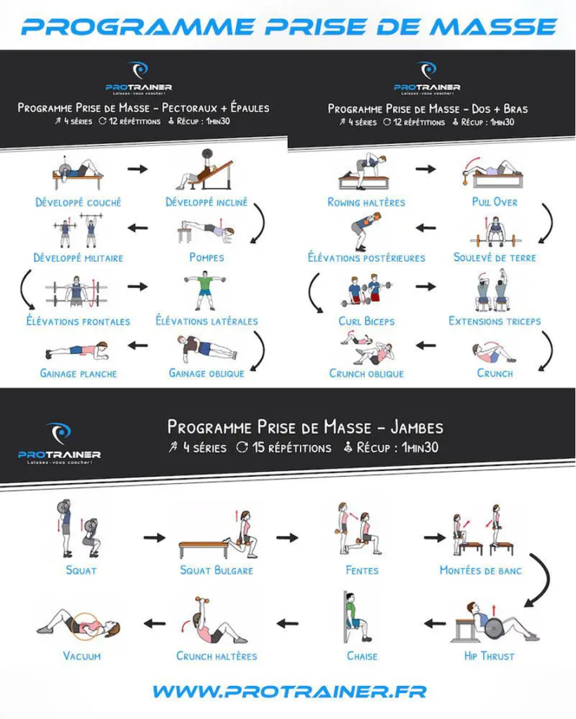 Programme exercices prise de masse musculaire
